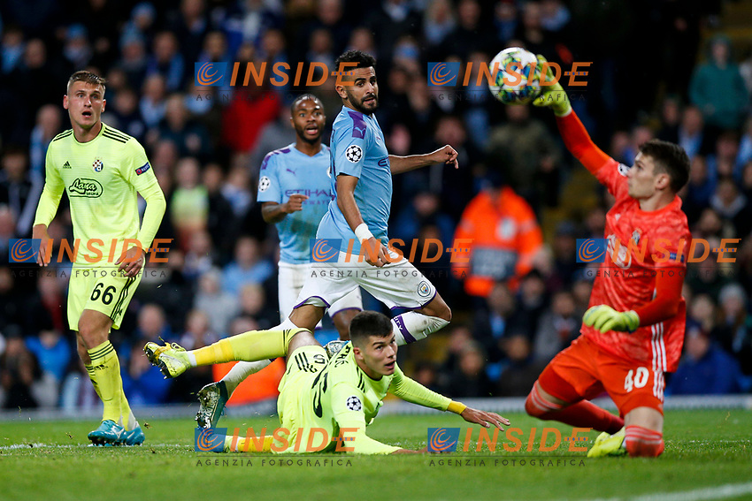 Dominik Livakovic of Dinamo Zagreb saves from Ilkay Gundogan of Manchester City during the UEFA Champions League Group C match between Manchester City and Dinamo Zagreb at the Etihad Stadium on October 1st 2019 in Manchester, England. (Photo by Daniel Chesterton/phcimages.com)<br /> Foto PHC/Insidefoto <br /> ITALY ONLY