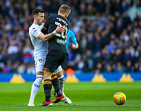 Leeds United's Jack Harrison battles with Hull City's Jarrod Bowen<br /> <br /> Photographer Alex Dodd/CameraSport<br /> <br /> The EFL Sky Bet Championship - Leeds United v Hull City - Saturday 29th December 2018 - Elland Road - Leeds<br /> <br /> World Copyright © 2018 CameraSport. All rights reserved. 43 Linden Ave. Countesthorpe. Leicester. England. LE8 5PG - Tel: +44 (0) 116 277 4147 - admin@camerasport.com - www.camerasport.com