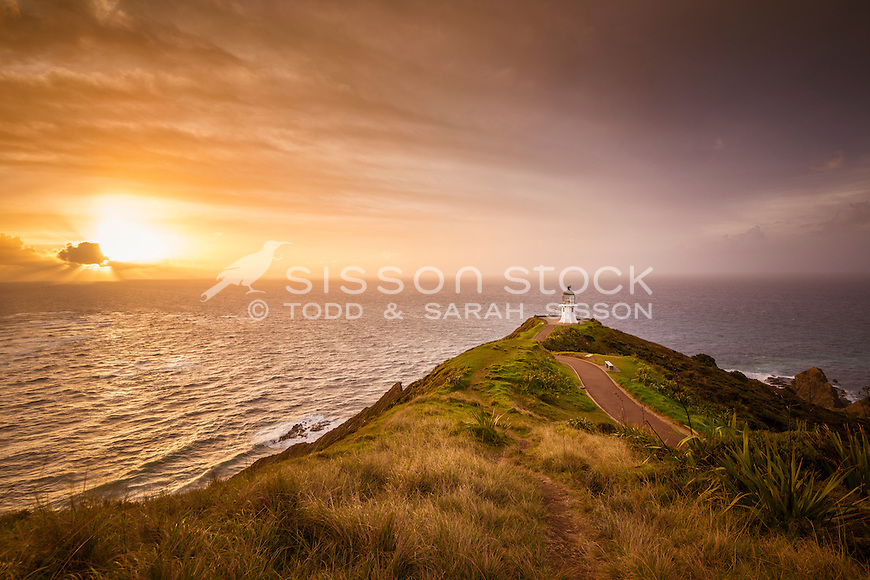 Cape Reinga Lighthouse, sunset,  Northland, New Zealand - stock photo, canvas, fine art print