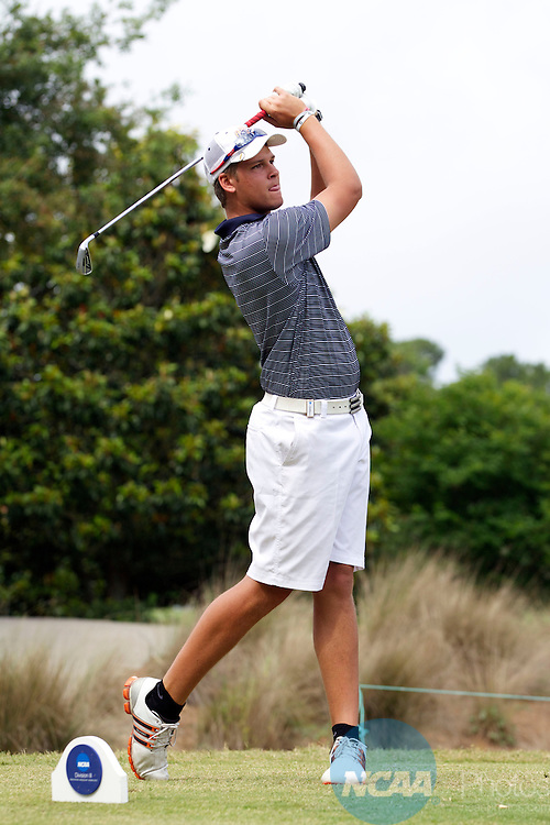 17 MAY 2013:  Christian Hallman of the University of Texas at Tyler watches his drive during the Division III Men's Golf Championship held at the Sandestin Golf and Beach Resort Raven Course in Destin, FL.  Mark Wallheiser/NCAA Photos