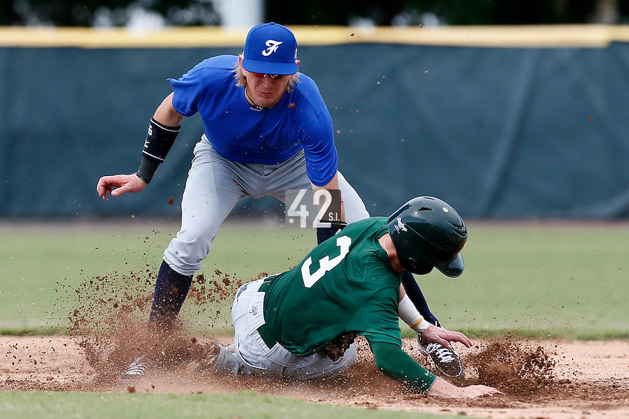 19 September 2012: Luc Piquet tags out a college player on second base during Team France friendly game won 6-3 against Palm Beach State College, during the 2012 World Baseball Classic Qualifier round, in Lake Worth, Florida, USA.