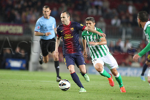 05.05.2013 Barcelona, Spain. Iniesta in action during the Spanish La Liga game between Barcelona and Real Betis from Nou Camp.