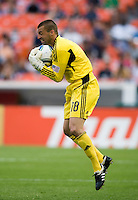 Jon Busch (18) of the San Jose Earthquakes makes a save off a free kick during the game at RFK Stadium in Washington, DC.  D.C. United was defeated by the San Jose Earthquakes, 4-2.