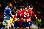 9th January 2018, Wanda Metropolitano, Madrid, Spain; Copa del Rey football, round of 16, second leg, Atletico Madrid versus Lleida; Kevin Gameiro (Atletico de Madrid) celebrates with Angel Martin Correa as he scores to make it 2-0 in the 74th minute