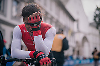 a disappointed Tyler Cole (Trinidad&amp;Tobego)<br /> <br /> MEN UNDER 23 INDIVIDUAL TIME TRIAL<br /> Hall-Wattens to Innsbruck: 27.8 km<br /> <br /> UCI 2018 Road World Championships<br /> Innsbruck - Tirol / Austria