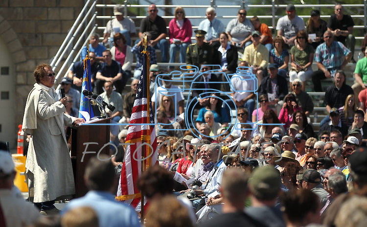 Guy Rocha, retired state archivist, speaks to more than 500 people who attended a decommissioning ceremony at the historic Nevada State Prison in Carson City, Nev. on Friday, May 18, 2012. .Photo by Cathleen Allison