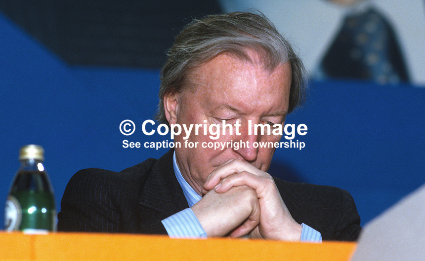 Charles Haughey, leader, Fianna Fail, Rep of Ireland, on the platform during his political party's annual conference in Dublin. 19860407CH4.<br /> <br /> Copyright Image from Victor Patterson,<br /> 54 Dorchester Park, <br /> Belfast, UK, BT9 6RJ<br /> <br /> t1: +44 28 9066 1296 (from Rep of Ireland 048 9066 1296)<br /> t2: +44 28 9002 2446 (from Rep of Ireland 048 9002 2446)<br /> <br /> m: +44 7802 353836<br /> <br /> e: victorpatterson@me.com<br /> www.victorpatterson.com<br /> <br /> Please see my Terms and Conditions of Use at www.victorpatterson.com. It is IMPORTANT that you familiarise yourself with them.<br /> <br /> Images used on the Internet must be visibly watermarked i.e. &copy; Victor Patterson<br /> within the body of the image and copyright metadata must not be deleted. Images <br /> used on the Internet have a size restriction of 4kbs and will be chargeable at current<br />  NUJ rates unless agreed otherwise.<br /> <br /> This image is only available for the use of the download recipient i.e. television station, newspaper, magazine, book publisher, etc, and must not be passed on to any third <br /> party. It is also downloaded on condition that each and every usage is notified within 7 days to victorpatterson@me.com<br /> <br /> The right of Victor Patterson to be identified as the author is asserted in accordance with The Copyright Designs And Patents Act (1988). All moral rights are asserted.