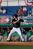 Batavia Muckdogs Troy Johnston (27) at bat during a NY-Penn League game against the West Virginia Black Bears on June 25, 2019 at Dwyer Stadium in Batavia, New York.  Batavia defeated West Virginia 7-3.  (Mike Janes/Four Seam Images)