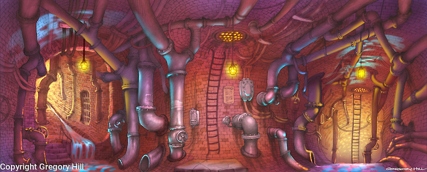 For Kenmark Scenic Backdrops. The sewers of New York City… home to an illegal floating crap game.