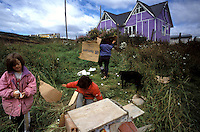 Children play in an Ushuaia yard, building dog houses with wind-blown cardboard and making guns from discarded plastic foam packing materials. Growing consumer culture is rapidly outpacing sanitation infrastructure projects in the towns of Tierra del Fuego. A sour national economy in Argentina means garbage disposal and littering laws are poorly enforced by a cash-starved regional government.