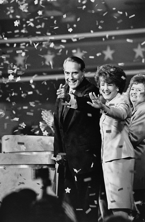 "Sen. Bob Dole, R-Kans., wife Elizabeth ""Liddy"" Dole at Republican National Committee Convention.  He was the GOP candidate for President in 1996. (Photo by Maureen Keating/CQ Roll Call via Getty Images)"