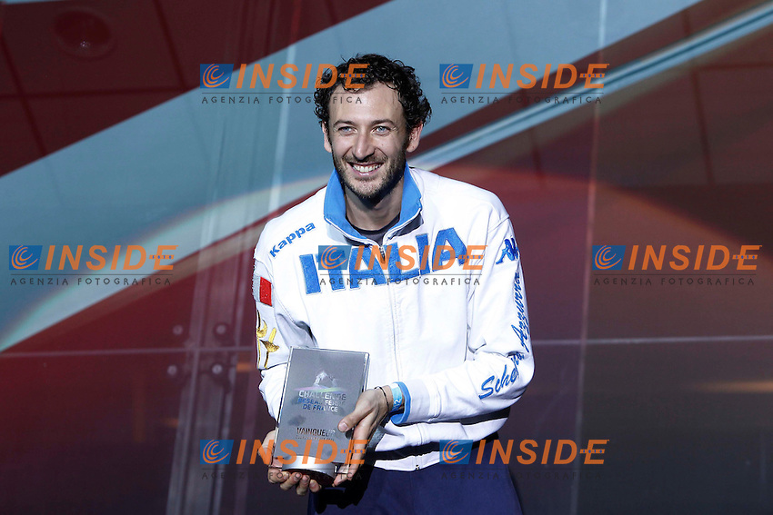 Diego Confalonieri (ITA) vincitore.Parigi 17/3/2012.Scherma Trofeo Monal - Coppa del Mondo Spada.Foto Insidefoto / Gwendoline Le Goff / Panoramic.Italy Only