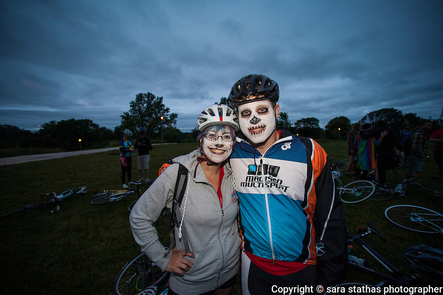 """5:30am bonus checkpoint at the top of the reservoir park for the """"Wait For It"""" checkpoint where riders had to sit and watch the sunrise  until a Riverwest 24 organizer released them"""