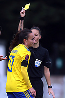 Lucy Staniforth of Birmingham City Women receives a yellow card during Arsenal Women vs Birmingham City Ladies, FA Women's Super League Football at Meadow Park on 4th November 2018