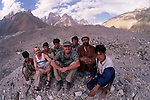Art Wolfe and Gavriel Jecan with porters, Baltoro Glacier, Pakistan