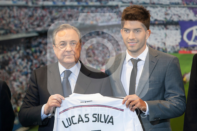 Real Madrid´s President Florentino Perez (L) and Brazil international soccer player Lucas Silva during his official presentation at the Santiago Bernabeu stadium in Madrid, Spain. January 26, 2015. (ALTERPHOTOS/Victor Blanco)