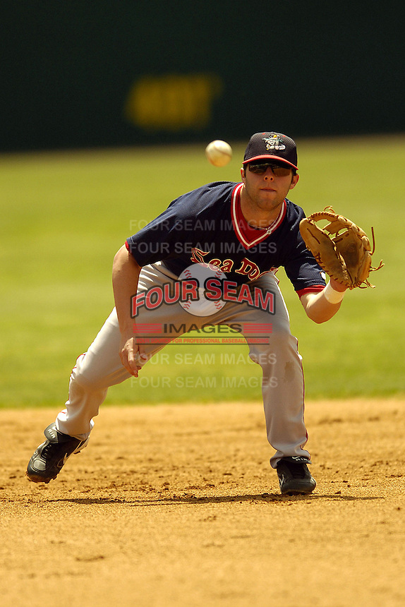 Portland Sea Dogs infielder Dustin Pedroia prior to a game versus the Norwich Navigators at Dodd Stadium in Norwich, Connecticut on May 30, 2005.  (Ken Babbitt/Four Seam Images)