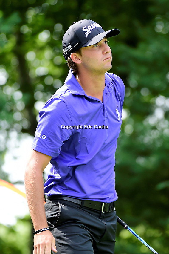 Saturday, September 3, 2016:  Smylie Kaufman watches the flight of his ball from the 9th tee box during the second round of the Deutsche Bank Championship tournament held at the Tournament Players Club, in Norton, Massachusetts.  Eric Canha/Cal Sport Media