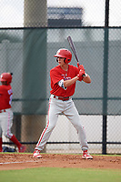 Philadelphia Phillies Nick Maton (6) at bat during an Instructional League game against the Toronto Blue Jays on September 30, 2017 at the Carpenter Complex in Clearwater, Florida.  (Mike Janes/Four Seam Images)