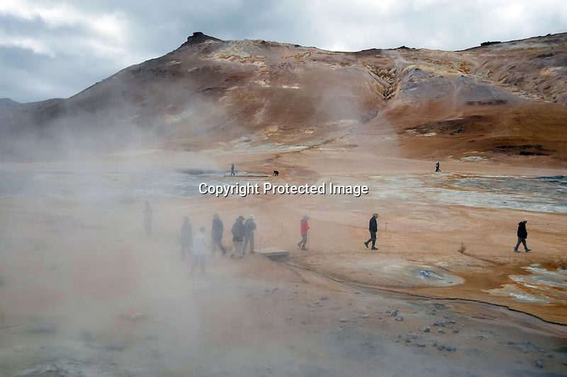 Steaming Hot Springs and Boiling Mud Pots at Hverarond Geothermal Field in North Iceland