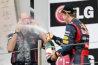 ATENCAO EDITOR - IMAGEM EMBARGADA PARA VEICULOS INTERNACIONAIS - <br /> YEONGAM, COREIA DO SUL, 14 OUTUBRO 2012 - F1 - GP DA COREIA DO SUL - O piloto alemao Sebastian Vettel comemora vitoria no GP da Coreia do Sul, neste domingo, 14. (FOTO: PIXATHLON / BRAZIL PHOTO PRESS).