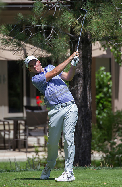 Russell Henley hits a drive on the 15th tee during the Barracuda Championship PGA golf tournament at Montrêux Golf and Country Club in Reno, Nevada on Sunday, July 28, 2019.