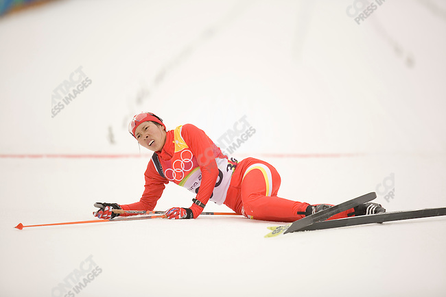 Women's 15 km cross country at Pragelato Plan during the Torino Winter Olympics. Chunli Wang of CHN.