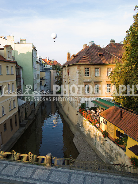 Picturesque sight of houses and rive r in Prague, Czech Republic, Europe