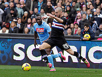 Lorenzo de Silvestri durante l'incontro di calcio di Serie A  Napoli Sampdoria allo  Stadio San Paolo  di Napoli , 6 gennaio 2014