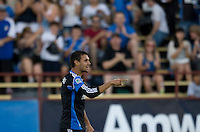 Chris Wondolowski of Earthquakes celebrates after scoring a goal during the first half of the game against the WhiteCaps at Buck Shaw Stadium in Santa Clara, California on July 20th, 2011.  Earthquakes and WhiteCaps are tied 1-1 at halftime.