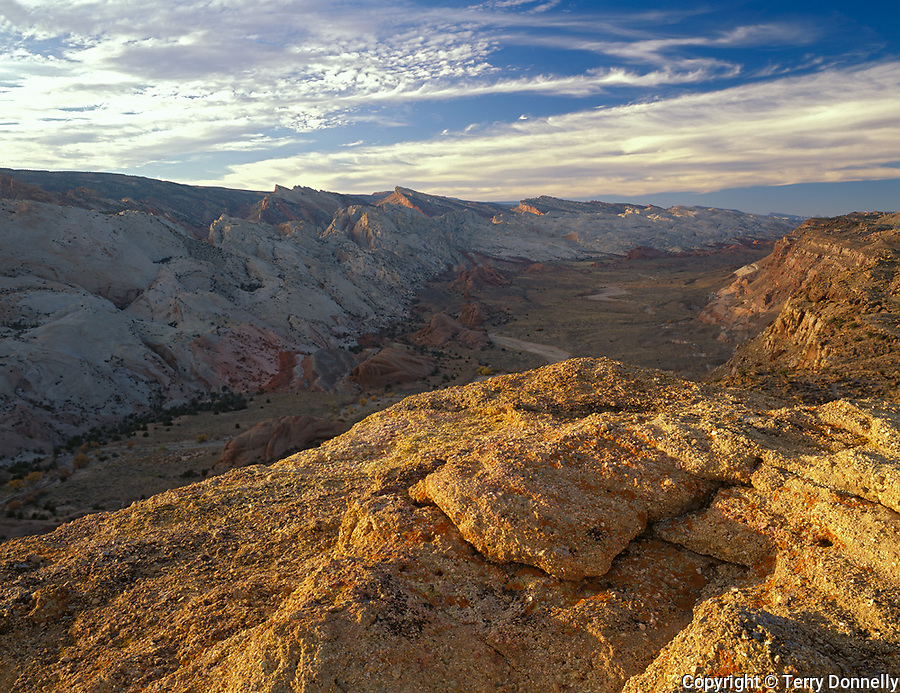 Capitol Reef National Park, UT<br /> Evening light on the Water Pocket Fold and Halls Creek Canyon from the Halls Creek overlook
