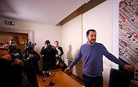 Il segretario della Lega Nord Matteo Salvini tiene una conferenza stampa all'Associazione della Stampa Estera a Roma, 10 dicembre 2014.<br /> Lega Nord's leader Matteo Salvini arrives for a press conference at the Foreign Press association in Rome 10 December 2014.<br /> UPDATE IMAGES PRESS/Riccardo De Luca