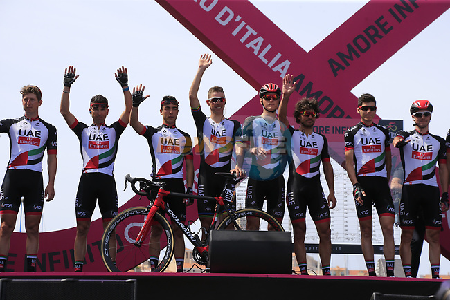 UAE Emirates at sign on before Stage 1 of the 100th edition of the Giro d'Italia 2017, running 206km from Alghero to Olbia, Sardinia, Italy. 4th May 2017.<br /> Picture: Eoin Clarke | Cyclefile<br /> <br /> <br /> All photos usage must carry mandatory copyright credit (&copy; Cyclefile | Eoin Clarke)