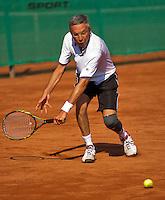 Netherlands, Amstelveen, August 22, 2015, Tennis,  National Veteran Championships, NVK, TV de Kegel,  Men's 55+, Rolf Thung<br /> Photo: Tennisimages/Henk Koster