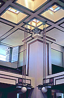 F.L. Wright: Unity Temple. Interior, upper balcony.  Photo '76.