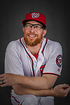 22 February 2019: Washington Nationals pitcher Sean Doolittle poses for his Photo Day portrait at the Ballpark of the Palm Beaches in West Palm Beach, Florida. Mandatory Credit: Ed Wolfstein Photo *** RAW (NEF) Image File Available ***