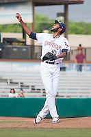 San Antonio Missions pitcher Tayron Guerrero (40) follows through on pitch during the Texas League baseball game against the Corpus Christi Hooks on May 10, 2015 at Nelson Wolff Stadium in San Antonio, Texas. The Missions defeated the Hooks 6-5. (Andrew Woolley/Four Seam Images)