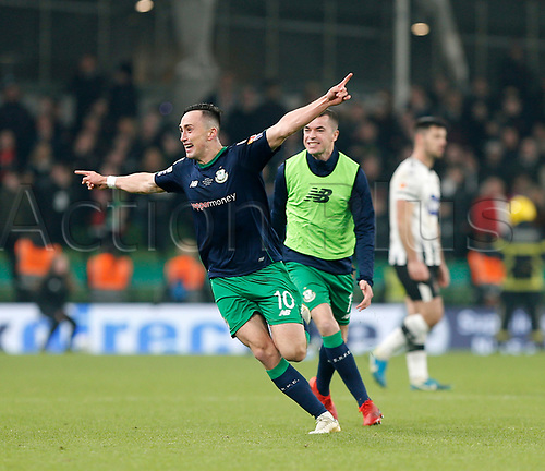 3rd November 2019; Aviva Stadium, Dublin, Leinster, Ireland; FAI Cup Final Football, Dundalk Football Club versus Shamrock Rovers; Aaron McEneff celebrates scoring a 90th minute penalty to give Shamrock Rovers a 1-0 lead - Editorial Use