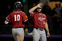 Altoona Curve Jerrick Suiter (31) congratulates Hunter Owen (10) after a home run during an Eastern League game against the Erie SeaWolves on June 3, 2019 at UPMC Park in Erie, Pennsylvania.  Altoona defeated Erie 9-8.  (Mike Janes/Four Seam Images)