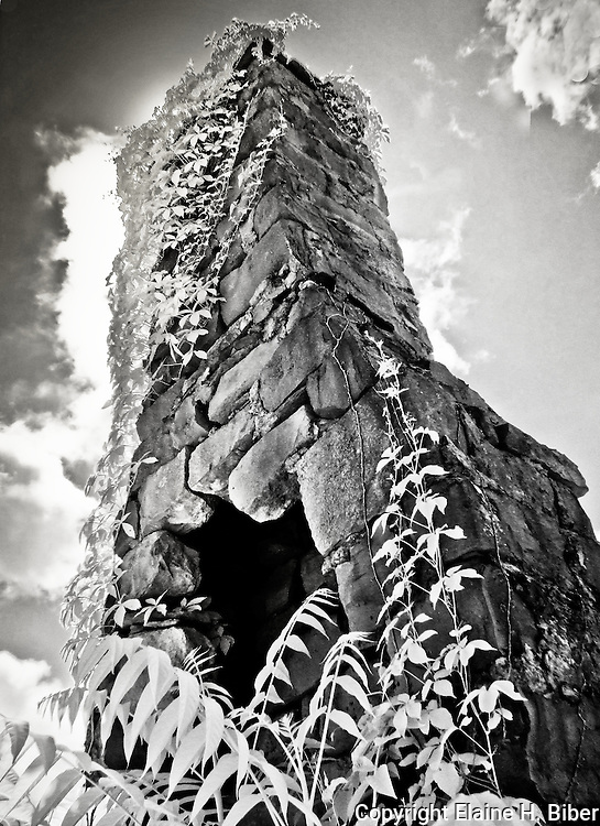 Abandoned stone fireplace chimney