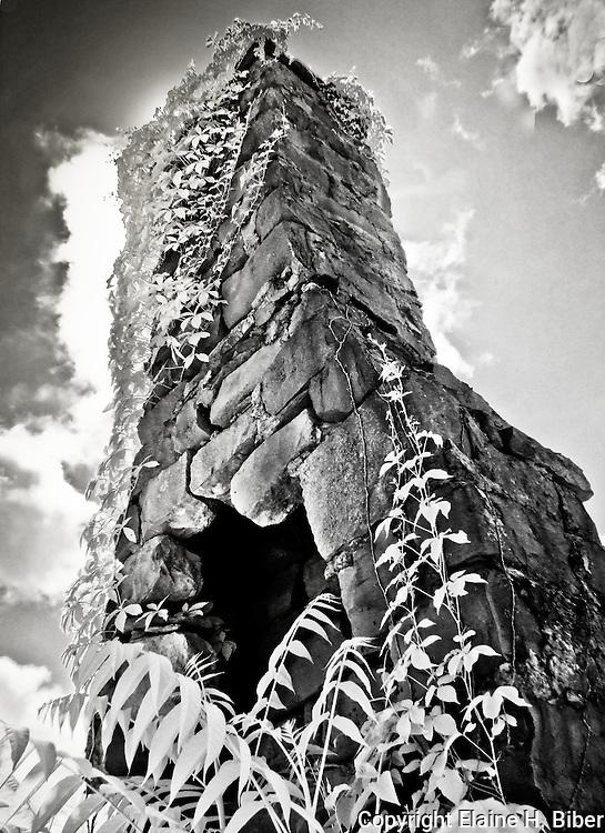 Abandoned stone fireplace chimney