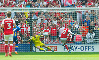 Shrewsbury Dean Henderson save penalty take it by  Rotherham David Ball during the Sky Bet League 1 Play Off FINAL match between Rotherham United and Shrewsbury Town at Wembley, London, England on 27 May 2018. Photo by Andrew Aleksiejczuk / PRiME Media Images.