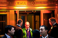 Tradeers are seen at one of the entrances of the NYSE one day before the Nasdaq Management discusses Q4 2011 results programed for next Wednesday in New York, United States. 31/01/2012.  Photo by Eduardo Munoz Alvarez / VIEWpress.