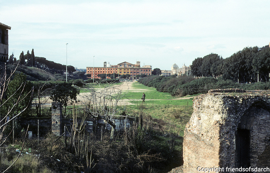 Italy: Rome--Length of Circus Maximus, fragment of Grandstand. Photo '82.
