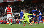 Arsenal's Mesut Ozil scores past Leicester's Kasper Schmeichel but the goal is disallowed during the Premier League match at the Emirates Stadium, London. Picture date: April 26th, 2017. Pic credit should read: David Klein/Sportimage