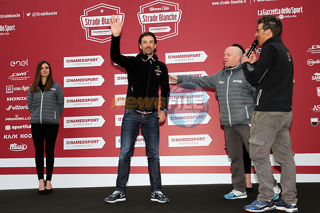 Recently retired defending champion Fabian Cancellara (SUI) at sign on before the start of the 2017 Strade Bianche running 175km from Siena to Siena, Tuscany, Italy 4th March 2017.<br /> Picture: Heinz &amp; Sabine Zwicky/Radsport.ch | Newsfile<br /> <br /> <br /> All photos usage must carry mandatory copyright credit (&copy; Newsfile | Heinz &amp; Sabine Zwicky/Radsport.ch)