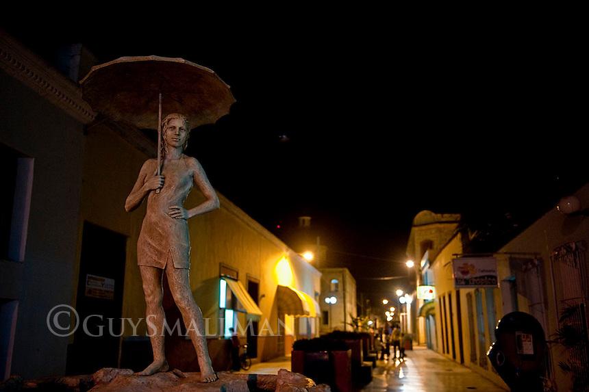 Statue nightime Holguin City. Holguin Province Cuba. 6-12-10