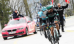 Felix Großschartner (AUT) Bora-Hansgrohe and Merhawi Kudus (ERI) Astana Pro Team attack on the final climb during Stage 5 of the 2019 Presidential Cycling Tour of Turkey, running 164.1km from Bursa to Kartepe, Turkey. 20th April 2019.<br /> Picture: Yucelcakiroglu | Cyclefile<br /> <br /> All photos usage must carry mandatory copyright credit (© Cyclefile | Yucelcakiroglu)