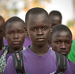 Youth come to the Loreto Primary School in Rumbek, South Sudan. While focused on educating girls from throughout the war-torn country, the school, run by the Institute for the Blessed Virgin Mary--the Loreto Sisters--of Ireland, also educates children from nearby communities.