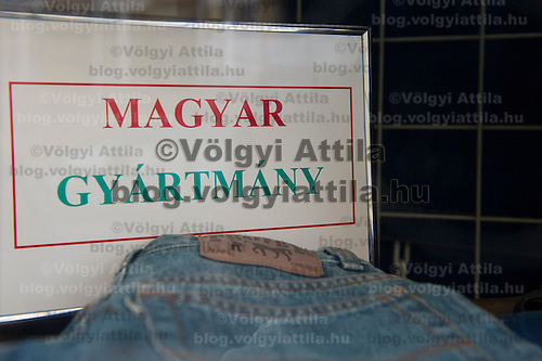 Trapper jeans displayed in a shop window labeled as original Hungarian product in Budapest, Hungary on February 17, 2011. ATTILA VOLGYI
